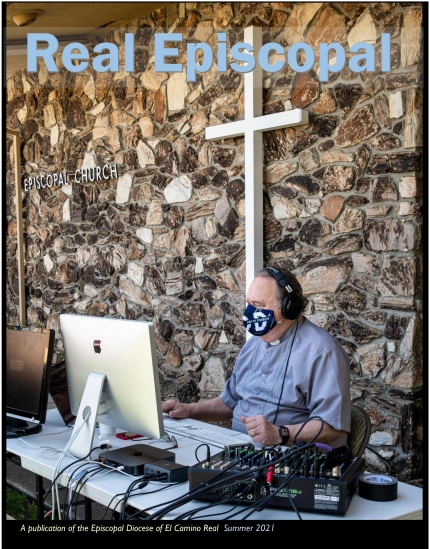 Cover of Real Episcopal Magazine for Summer 2021 with photo of clergy member operating computer